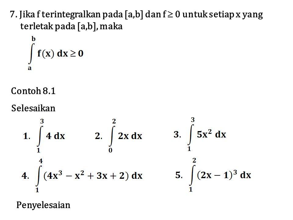 7. Jika f terintegralkan pada [a,b] dan f  0 untuk setiap x yang